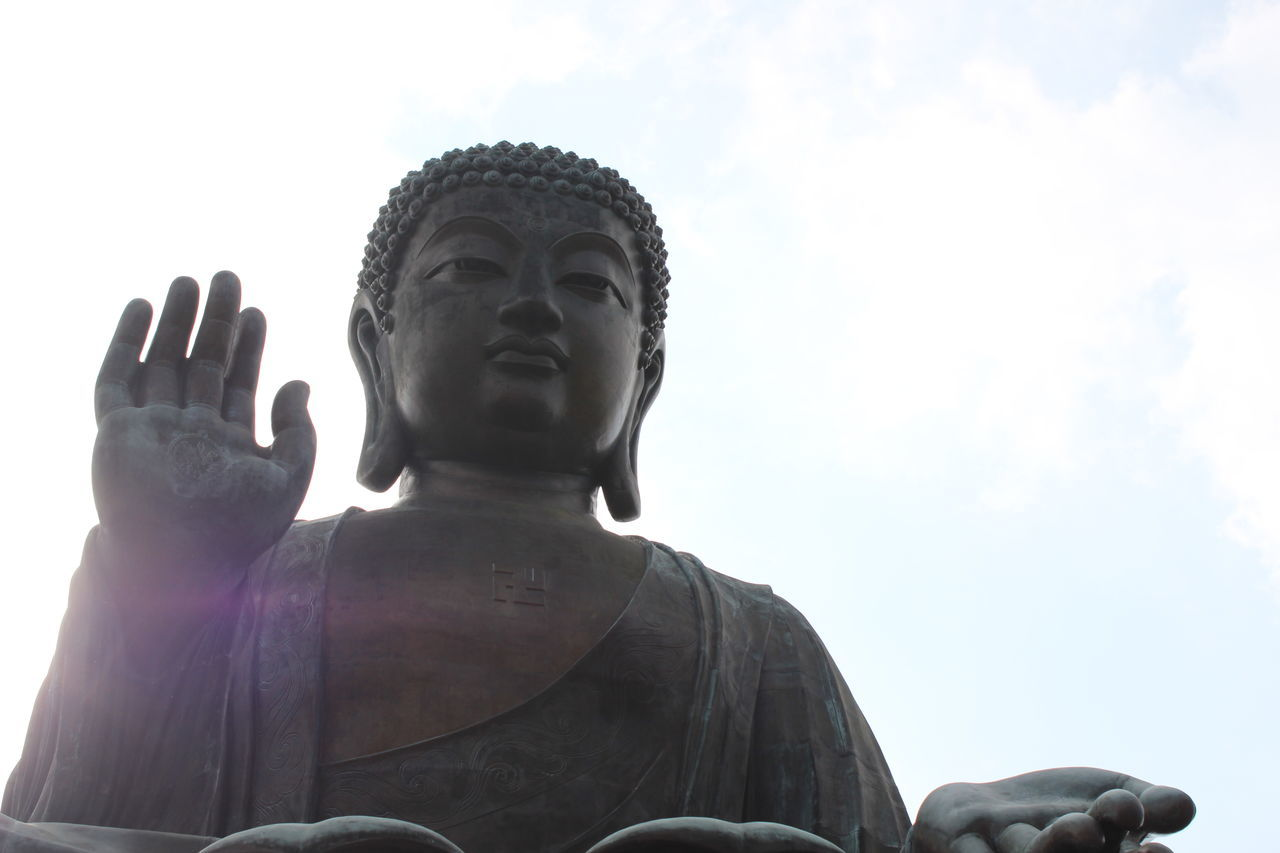 Religion Spirituality Statue Praying Looking Up Human Body Part Place Of Worship Low Angle View Sculpture Idol Adult Outdoors Sky Human Hand Adults Only Day People Standing Real People Travel Destinations Travel Photography Staircase HongKong Tian Tan Buddha (Giant Buddha) 天壇大佛