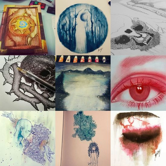Year2016 Eye Red Death Page Facebook DaisyObscure Drawings Paint Paintings Landscape Woods Blue Black Blackandwhite Point Rotting Skull Macabre Demon Dead Hearthstone Game Book Love ( page facebook DaisyObscure )
