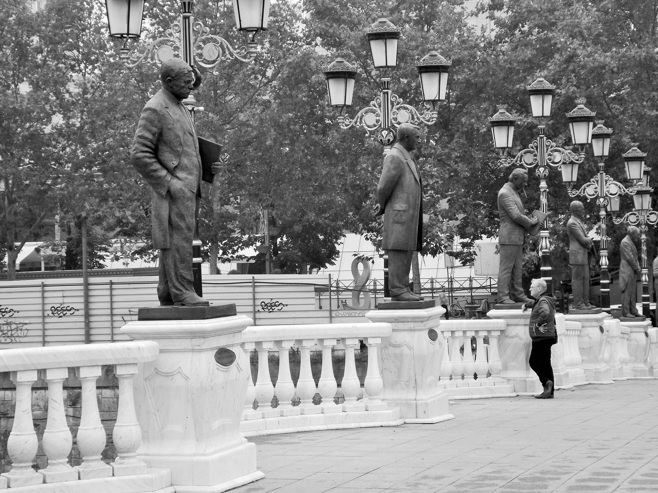 Blackandwhite One Person People People Photography People Watching Statue Wondering