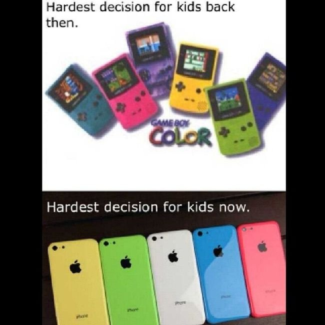 Gameboy IPhone Colors Harddecision old new before now