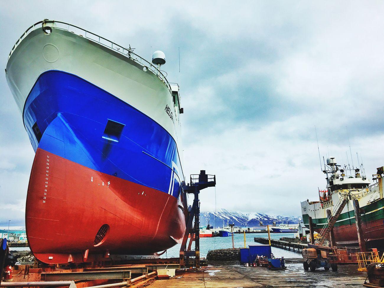 Ships Fishing Boat Fisherboat Drydock Blue Sky Reykjavik Harbour Iceland116 Iceland_collection
