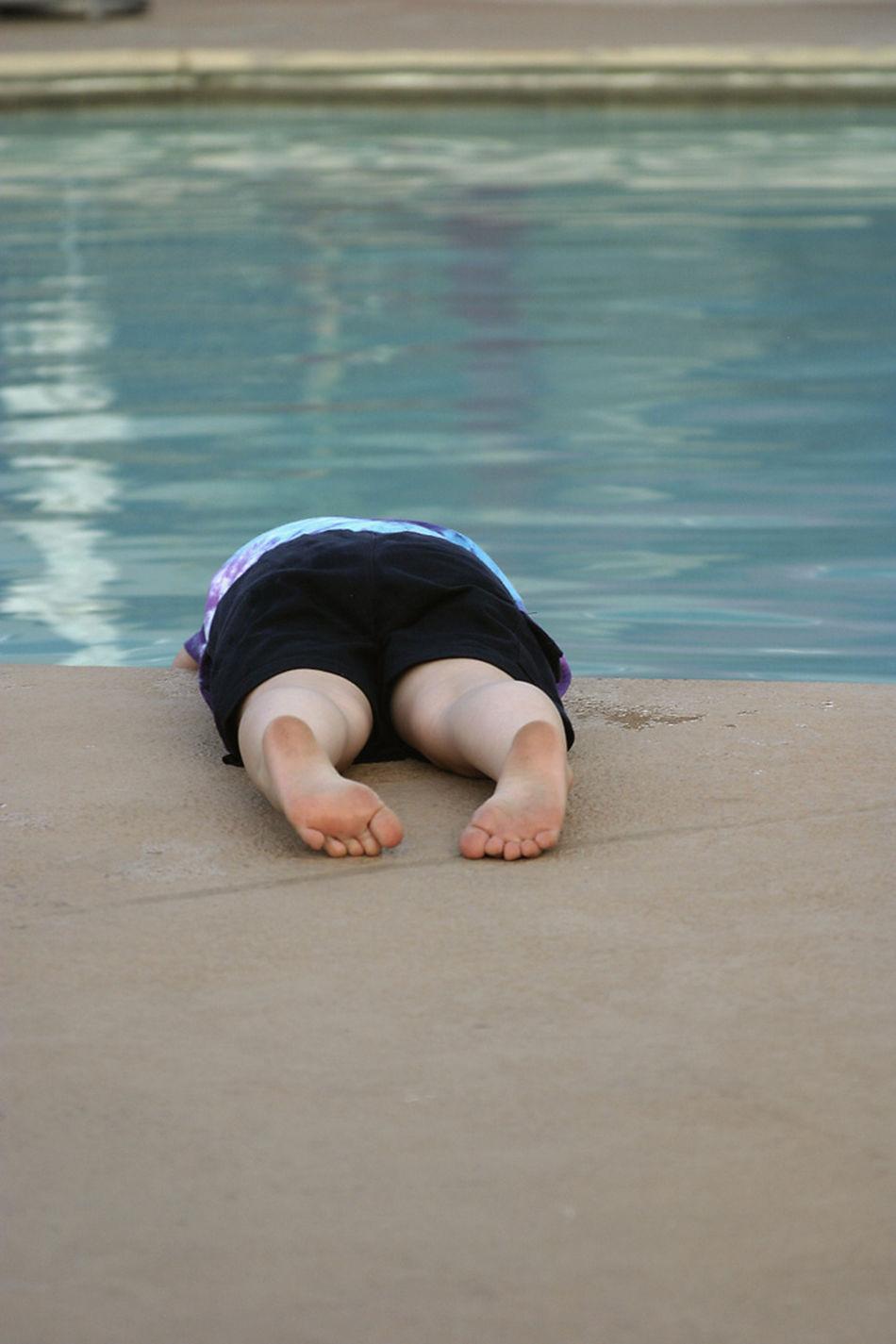 Kid Childsplay Children Swimming Pool Falling Down Laying Down Flat Out
