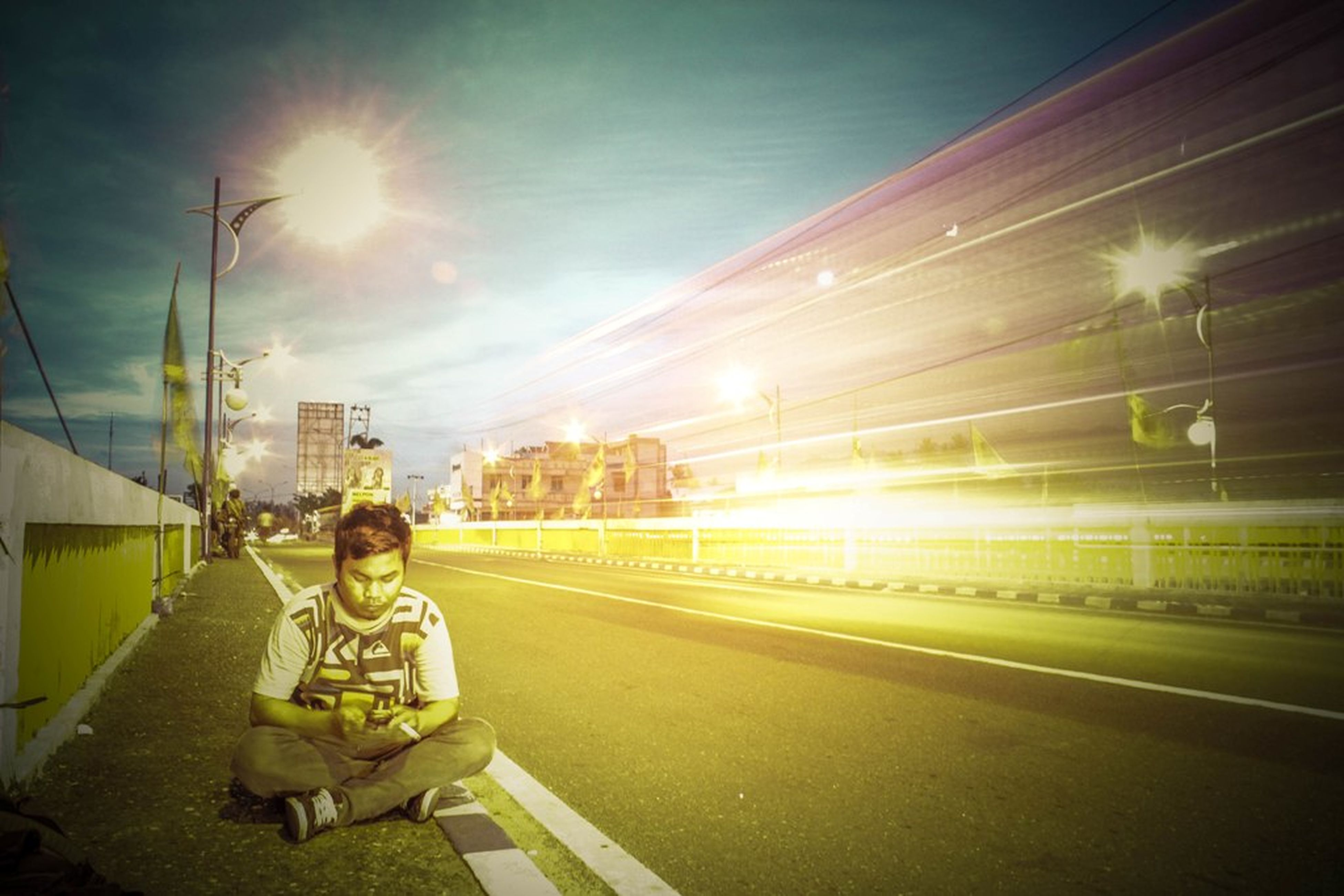 transportation, lifestyles, full length, rear view, mode of transport, men, land vehicle, leisure activity, building exterior, road, street, architecture, lens flare, built structure, the way forward, sun, sky, sunbeam