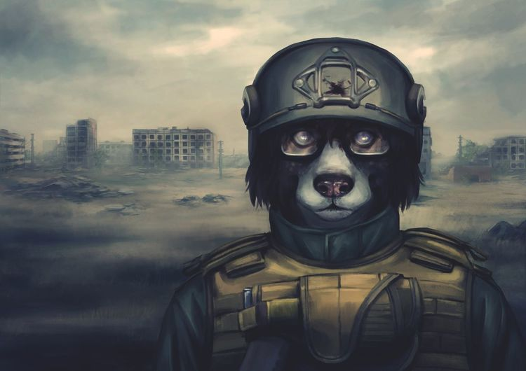 ArtWork Antropomorfo Furry Headshot Men Portrait One Man Only Cityscape Adults Only Architecture One Person Warrior - Person Outdoors Human Body Part Day Zombie Dog First Eyeem Photo