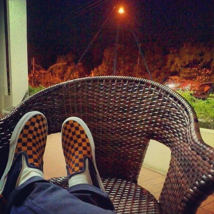 My nights done, belly full.....its all good. Thanks @iqtara for the sweet Checkered Slipons Vans Nightouts Goodnight