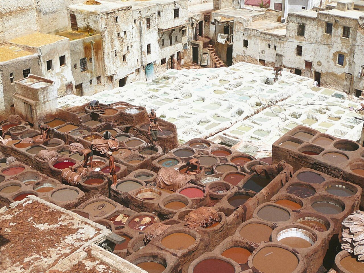 Morocco Fez Tradition Historic City Expertise Craftsmanship  Leather Tannery Dyeing Pits Tanning Pits Leather Preparation Tanners