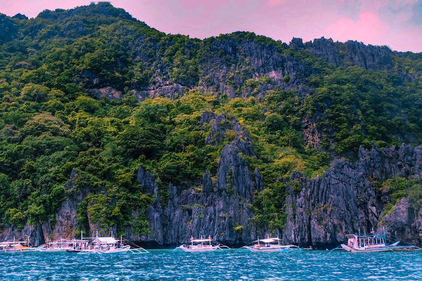 ASIA Asian Culture Philippines Beach Blue Water Cliff Landscape Nature Nautical Vessel Scenery Scenics Sea