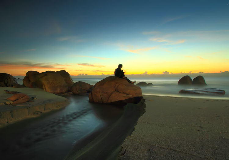 glory morning Beauty In Nature Calm Cloud Cloud - Sky Coastline Horizon Over Water Idyllic Nature No People Non-urban Scene Ocean Orange Color Outdoors Remote Rock Rock - Object Market Best Seller Scenics Sea Shore Sky Sunset Tranquil Scene Tranquility Colour Of Life Miles Away Done That.