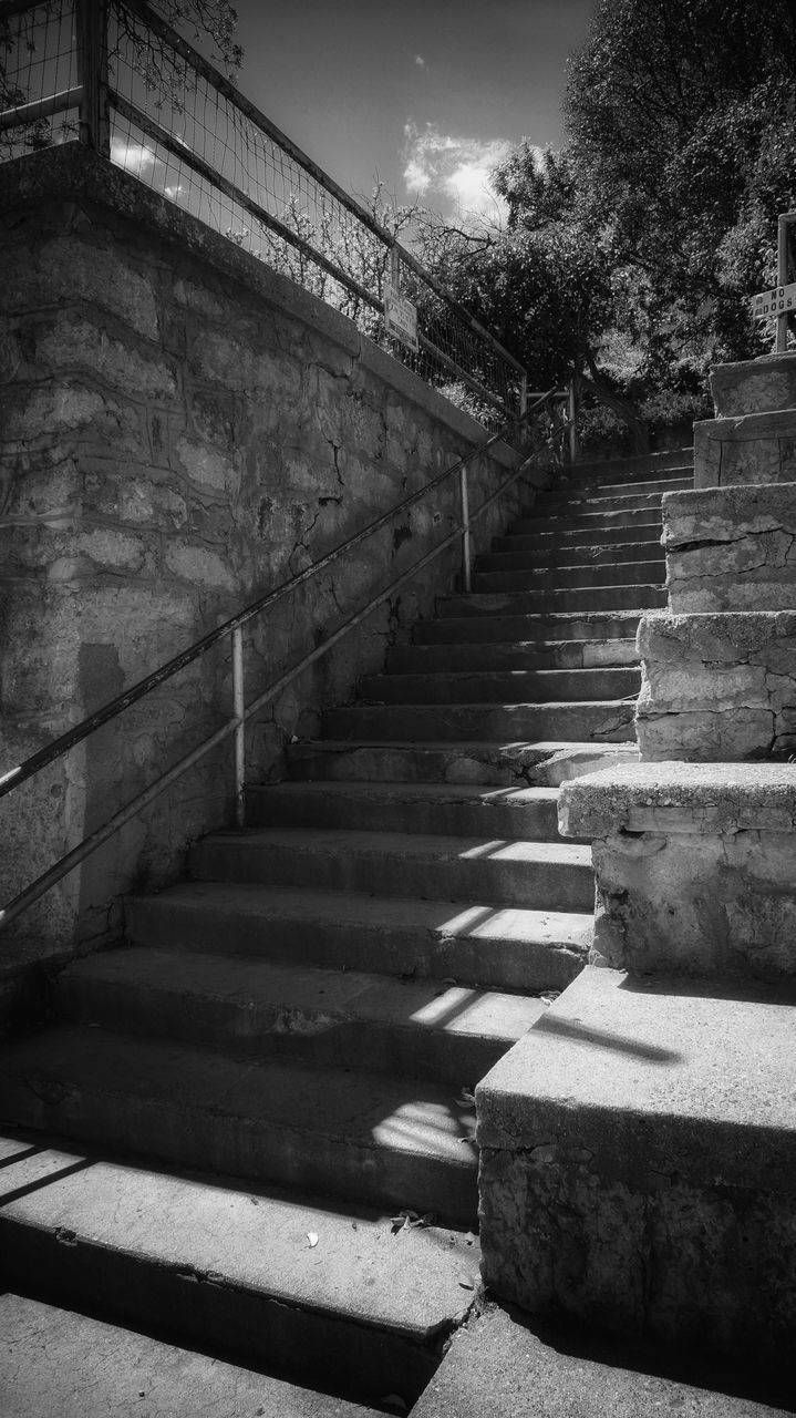steps, steps and staircases, staircase, the way forward, architecture, built structure, sunlight, sky, day, outdoors, low angle view, no people, nature
