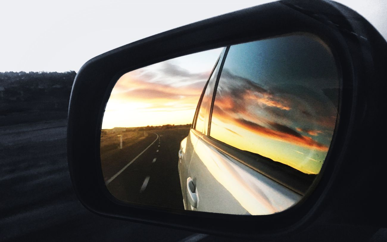 Side-view Mirror Car Transportation Mirror Reflection Mode Of Transport Road Land Vehicle Road Trip Vehicle Mirror Sunset Sky No People Outdoors Day Close-up Nature y c
