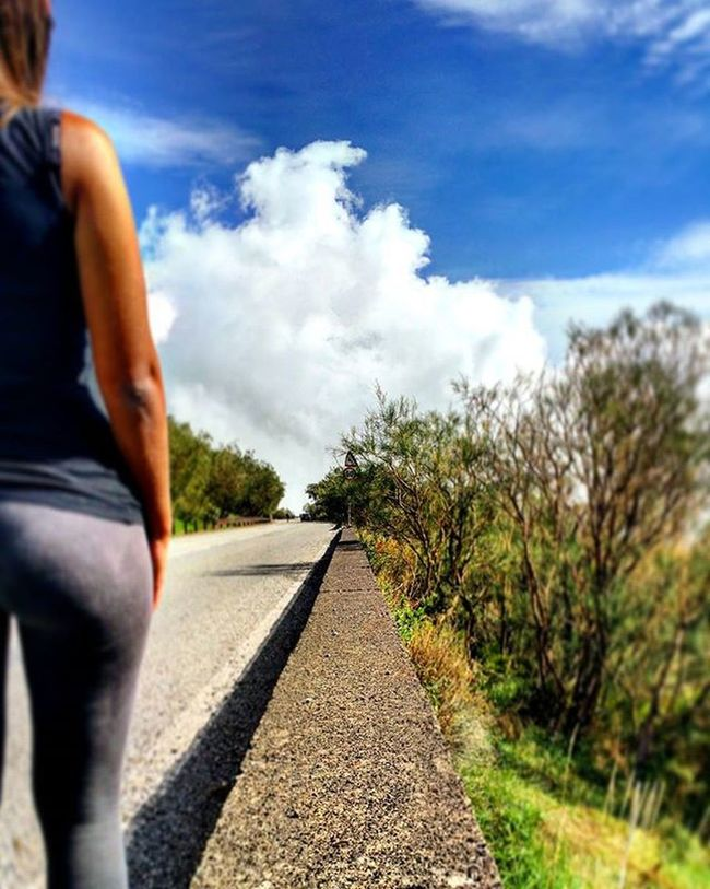 Street view!Italy Sicily Catania Zafferana Colour Bluesky Blue Cloud Sexygirl Back Street Wall Body Plants Trees Brunette