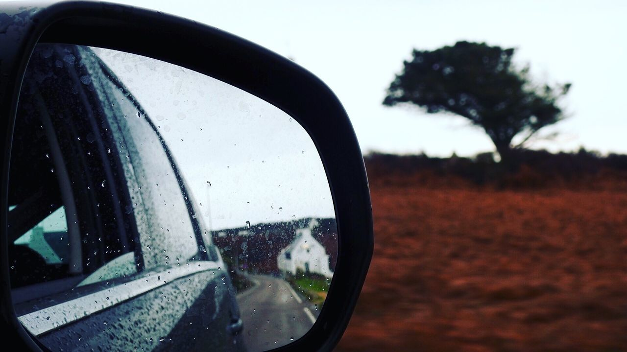 Bretagnetourisme Car Retro Vehicle Mirror Reflection Focus On Foreground Road