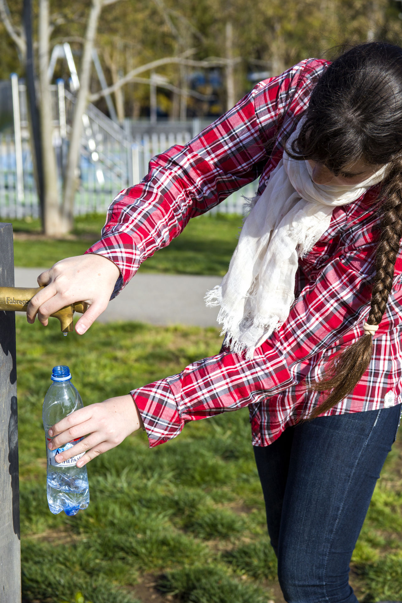 Bottle Drink Drinking Water Fountain Freshness Girl Grass Holding Outdoors Red Rural Scene Standing Water Young Adult