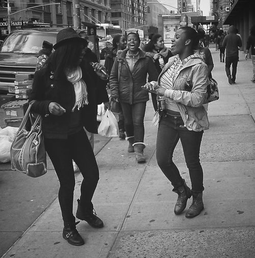 Beatbox NYC Black & White New York Street Shot B&w B&w Street Photography Beatbox Black & White Monochrome Casual Clothing City City Life City Street Girls Girls Dancing Girls Singing Real People Sidewalk Street Street Photography Togetherness Walking Young Women
