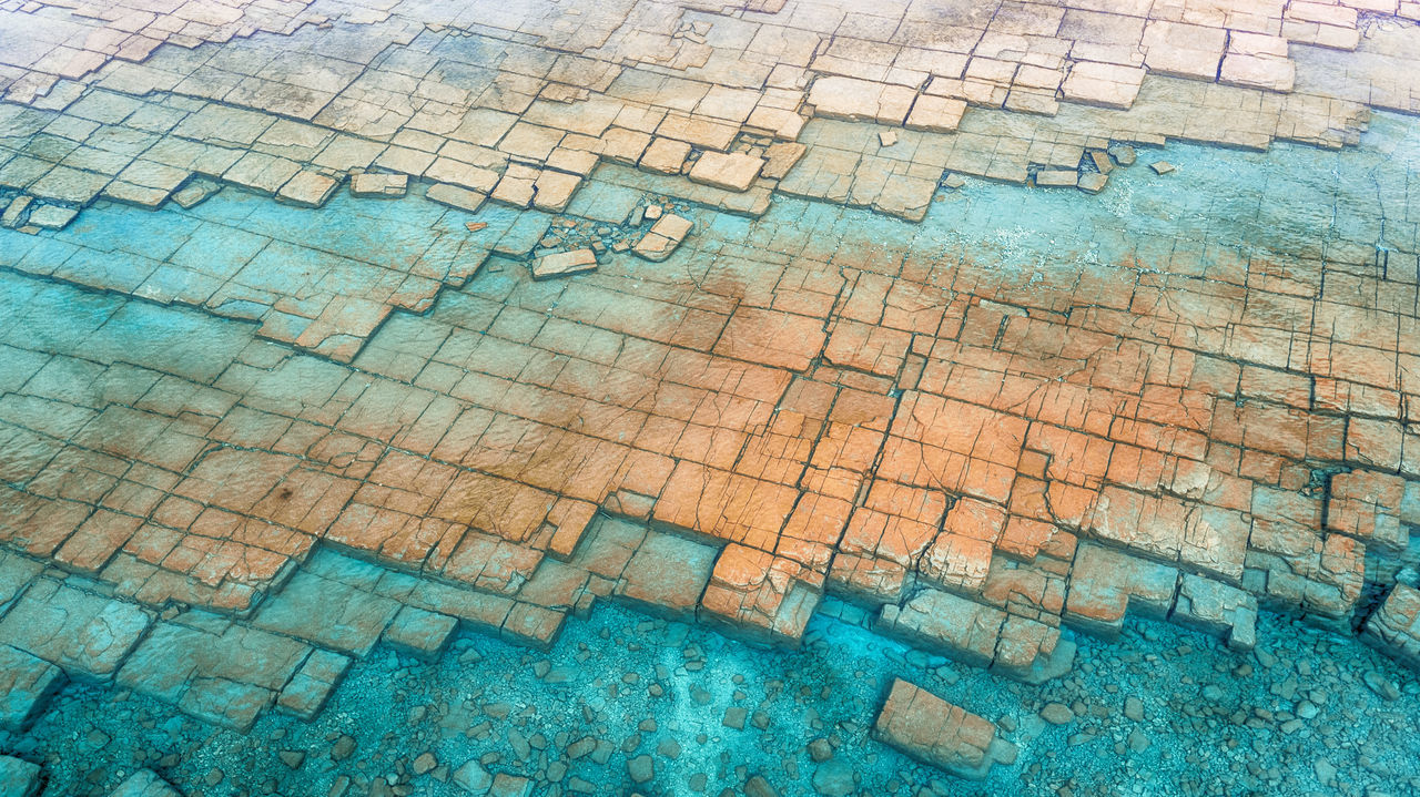 Backgrounds Full Frame Textured  Pattern No People Multi Colored Outdoors Summer Nature Drone  Aerial Landscape Aerial View Geology Stone Water Square Rock Blue Beach Great Lakes Huron Clear Crystal BYOPaper! The Great Outdoors - 2017 EyeEm Awards