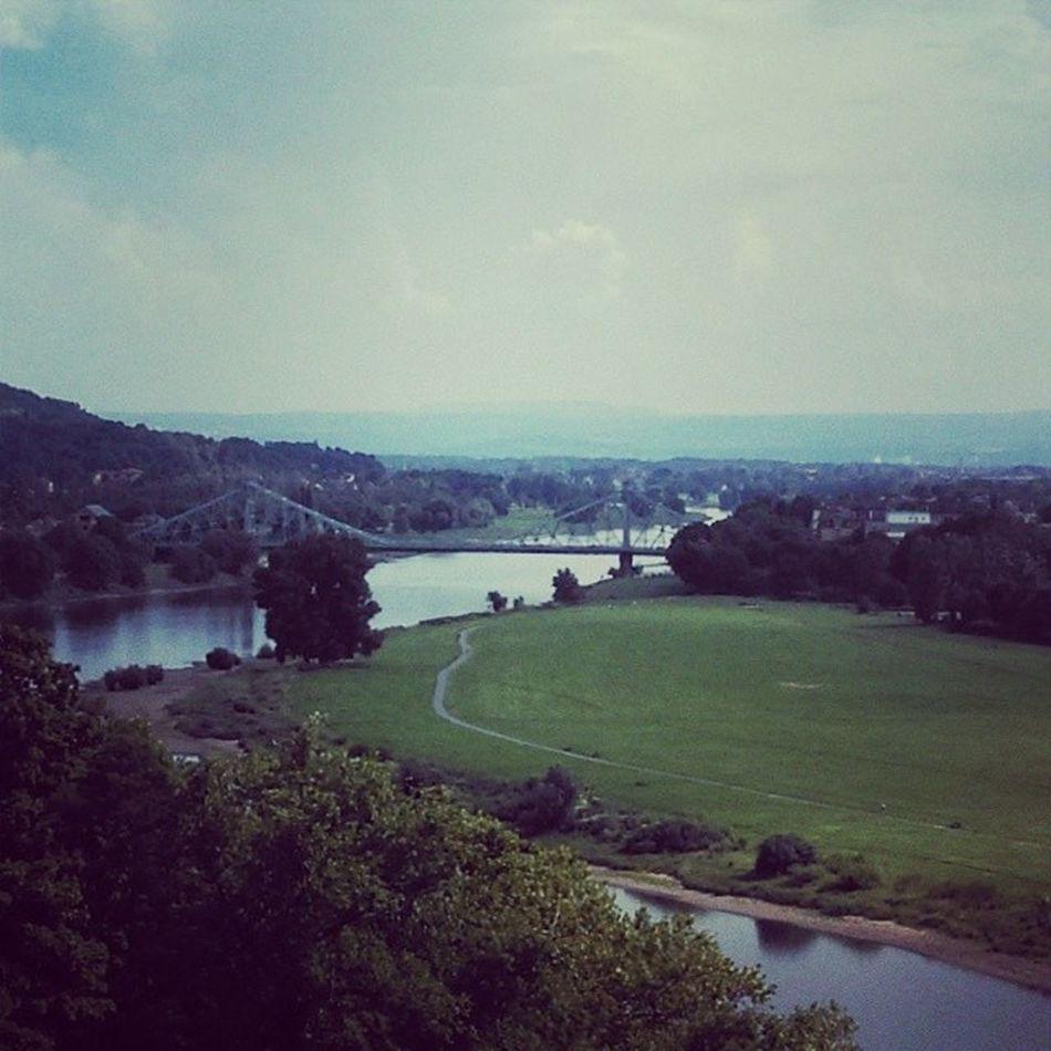 Aus der Perspektive hat das Blaue Wunder bestimmt noch nie jemand fotografiert. ;-) Blaueswunder Dresden Elbe