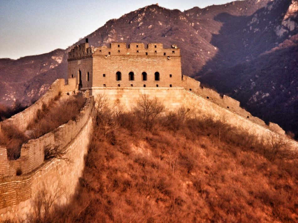 Chinese Wall China Sundown Sundowner Sundown... Badaling Great Wall Of China Commune By The Great Wall