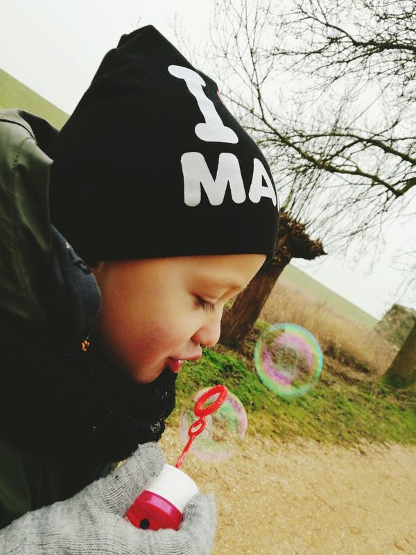 Some things never grow old... Kid One Person Blowing Bubbles Bubbels Close-up Outdoors Love My Son Kid Having Fun Kids Photography Littel Boy , In The Forest Bubbles In The Sky