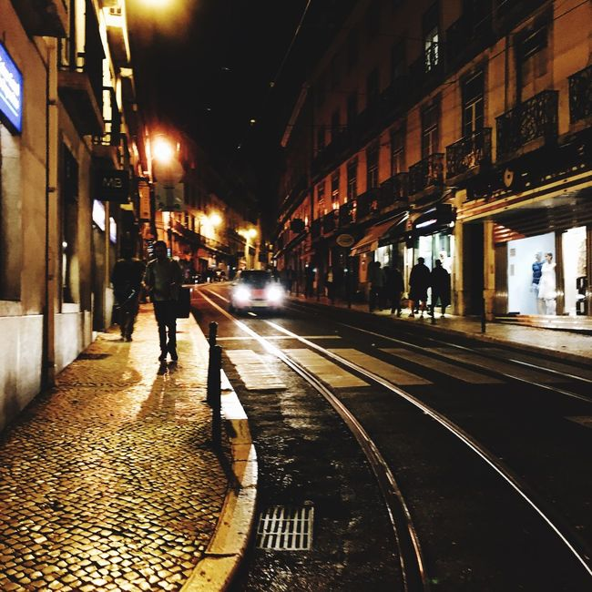 Night Lights Stroll Lisboa Enjoying Life