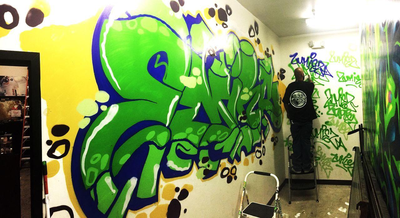 Close-up graffiti Person UrbanART Graffiti Aerosol