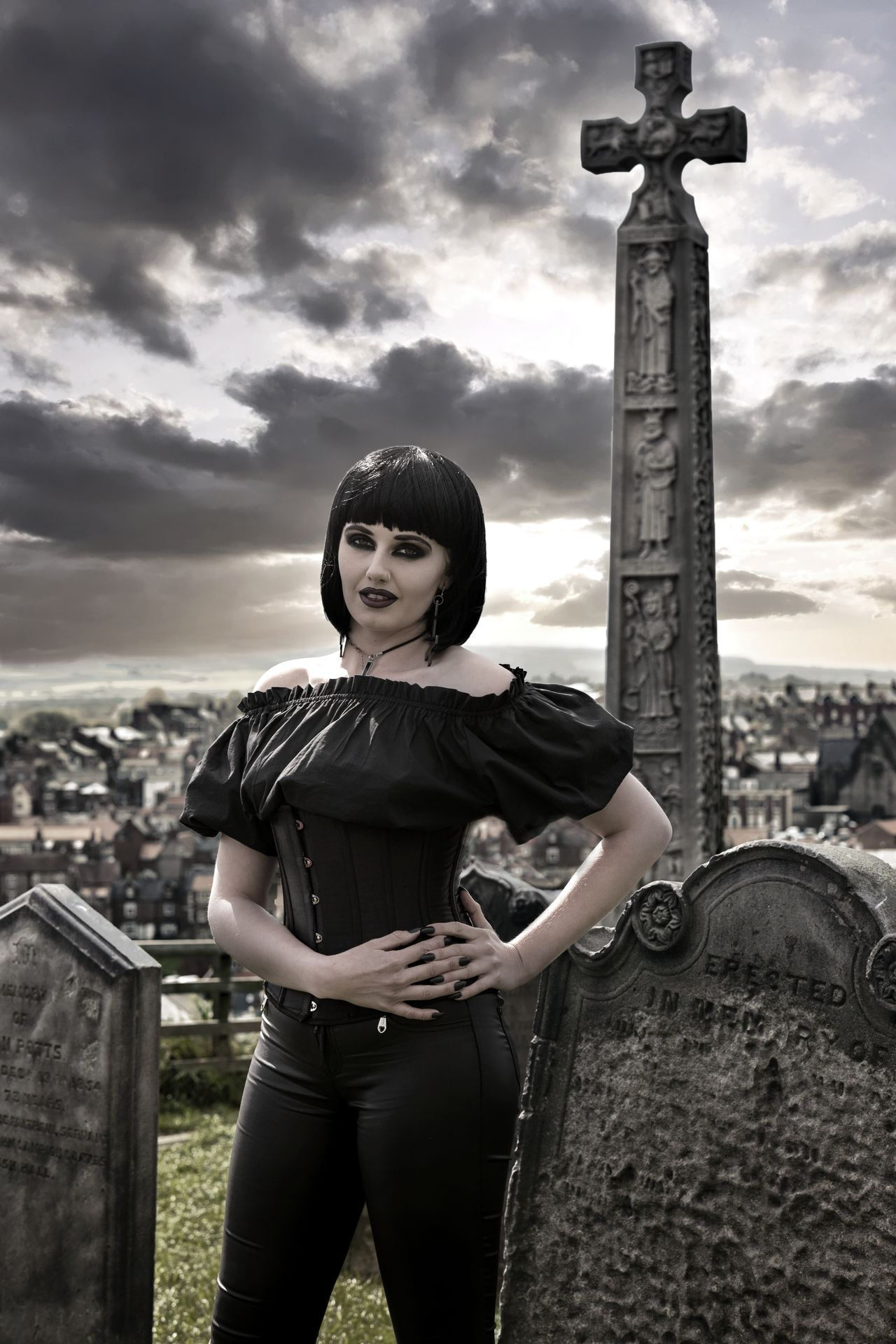 Whitby Goth Weekend Whitby Whitby Goth Weekend WGW Portrait Goth Portrait Of A Woman Portraiture Beautiful Woman Cloud - Sky Graveyard Beauty Graveyard Photographer Model Modelgirl Goth Girl Adult People Adults Only Standing Sky Headwear Looking At Camera One Person Outdoors The Portraitist - 2017 EyeEm Awards