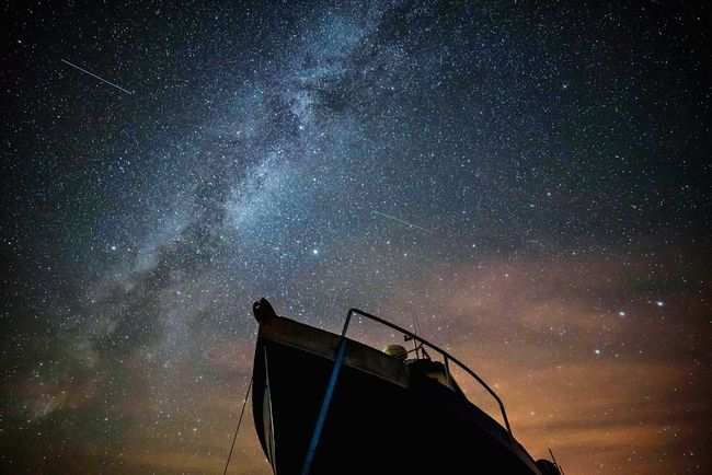 Ships in the night Overnight Success Star - Space Low Angle View Astronomy Majestic Milky Way Galaxy Constellation Darkart Landscape_photography Skyporn Northumberland Lindisfarne Nightphotography Nautical Vessel Boat Travel Destinations EyeEm Masterclass Planet - Space Tranquility Clear Sky Scenics Atmospheric Mood