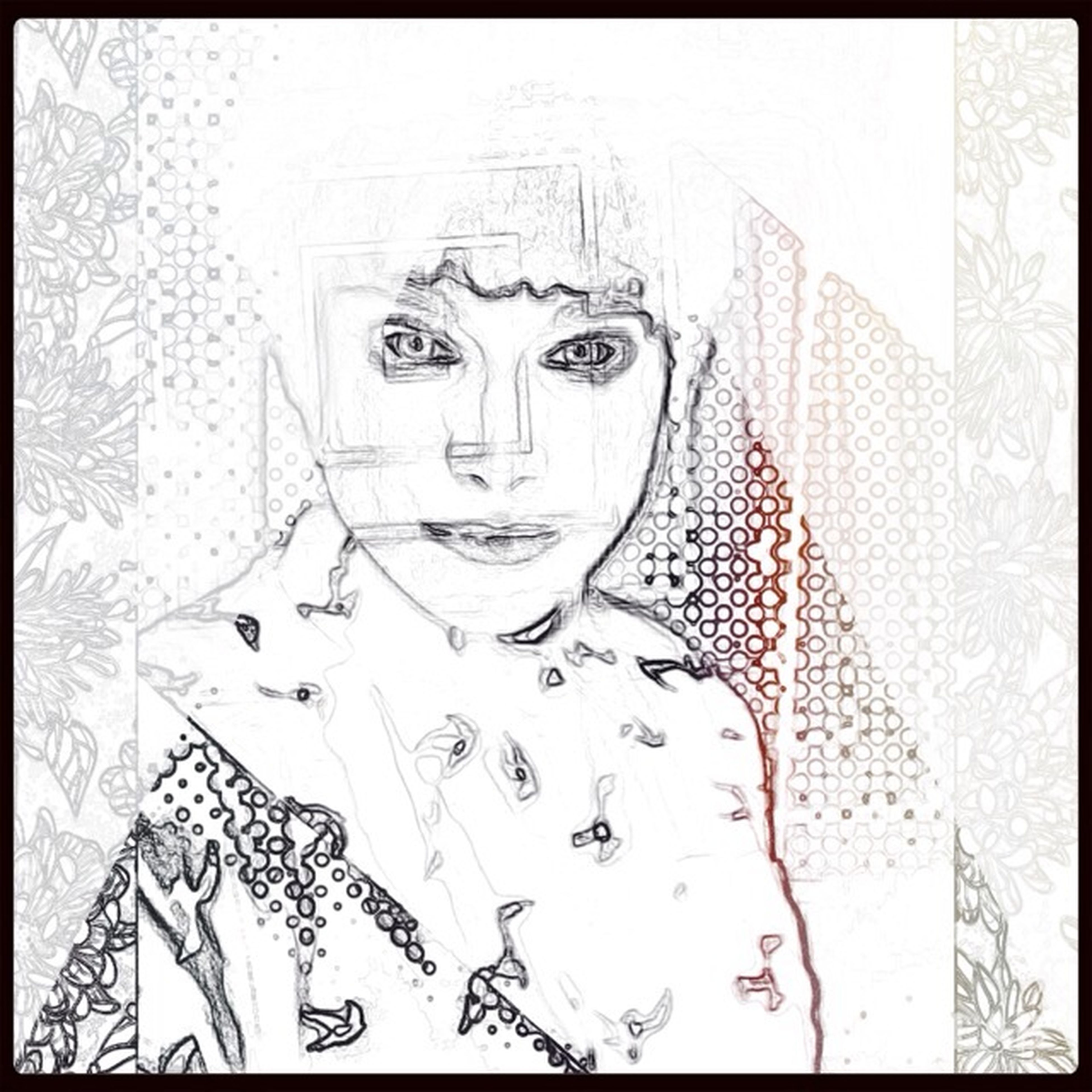 transfer print, auto post production filter, indoors, lifestyles, wall - building feature, art, leisure activity, creativity, art and craft, human representation, graffiti, young adult, built structure, digital composite, architecture, high angle view, young women, reflection