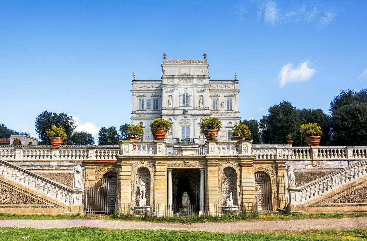 Architecture Rome Stairs Travel Arch Architecture Attraction Building Building Exterior Built Structure Day Grass History Marble No People Outdoors Sky Tourism Tourism Destination Travel Destinations Tree Villa Pamphili