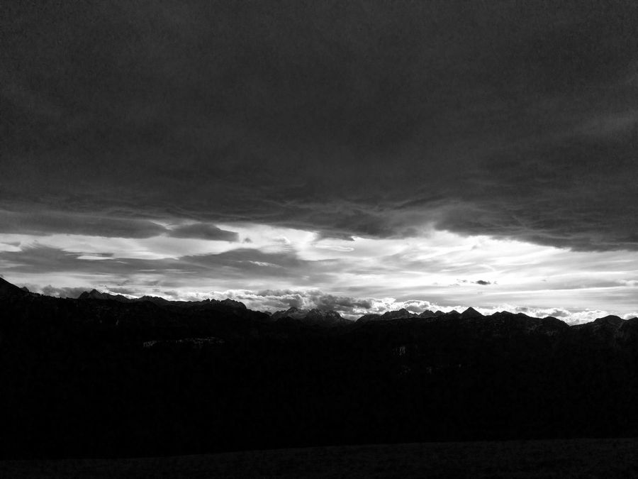 view from Teisenberg on mountains under a dramatic sky Alps Bavaria Beauty In Nature Blackandwhite Cloud Cloud - Sky Cloudy Dark Day Horizon Over Land Landscape Mountains Nature No People Non Urban Scene Outdoors Overcast Remote Scenics Sky Tranquil Scene Tranquility Weather