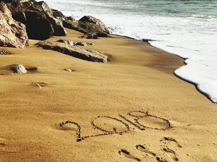 New Year 2018 Beach Sand Shore Sea Nature Outdoors No People Tranquility Beauty In Nature Water Day Wave Vacations