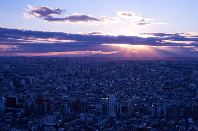 Aerial View Buildings Cloud - Sky High Angle View Moody Sky Sky Sunbeam Sunset Top Perspective