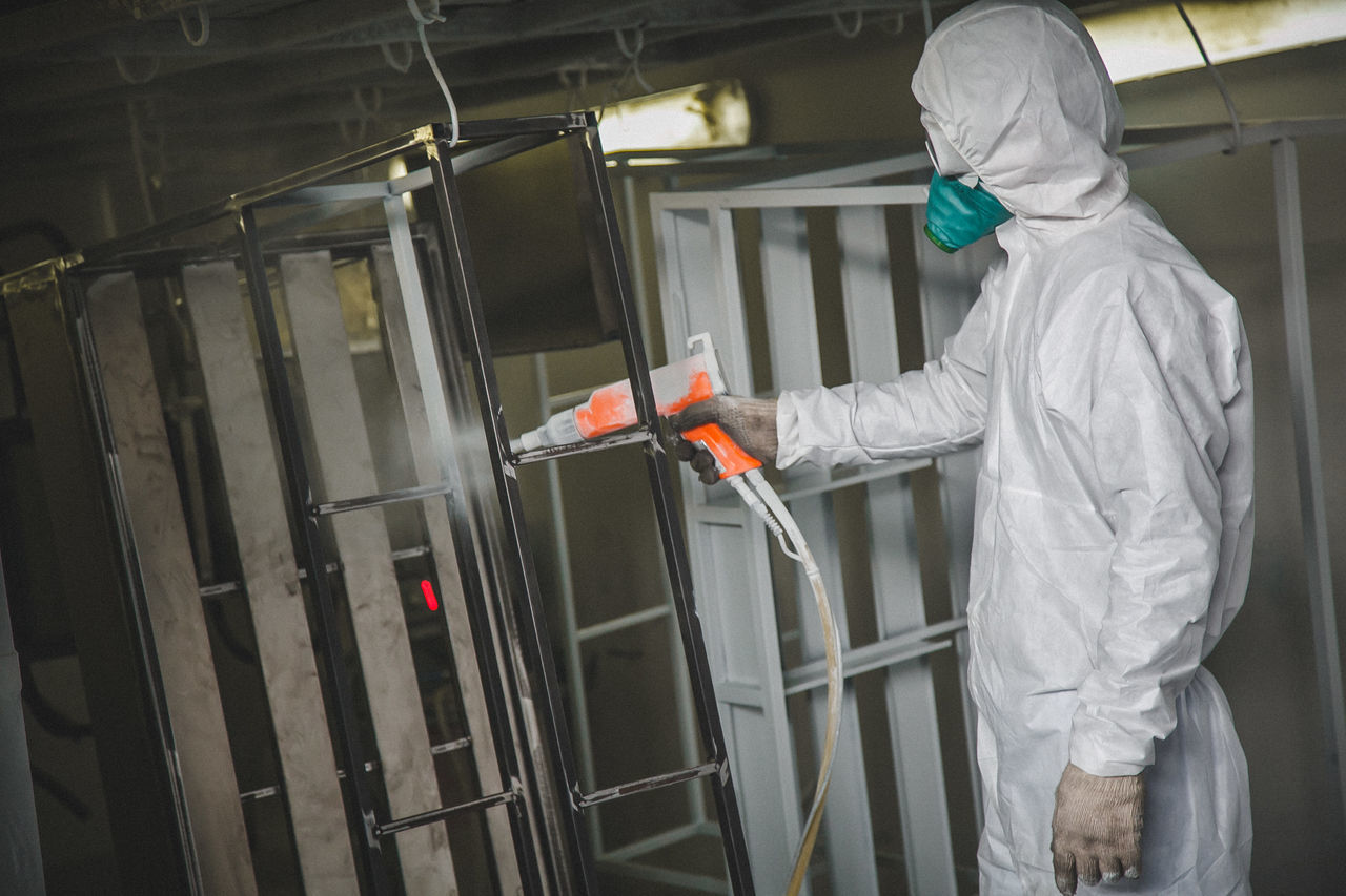 Paint work Adult Adults Only Hygiene Indoors  Men Occupational Safety And Health One Person Pain Paint Work People Protection Protective Glove Protective Mask - Workwear Protective Workwear Spray Bottle Spray Paint Spraying Technology Uniform Working