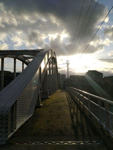 Sunlight Evening Sky 天神橋 金沢 Kanazawa City,Japan Walk Around Bridge - Man Made Structure Cloud - Sky Railing Sky Connection Built Structure Outdoors No People Day Nature
