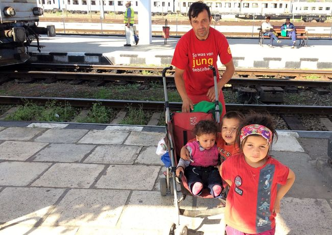 Happy people Fatherhood Moments Homeless Children And Adults Children Father & Son Father And Daughter Traveling Train Station City Life Family Poor Children