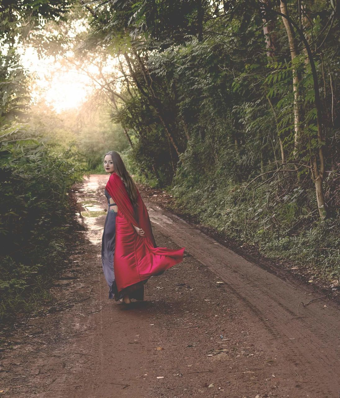 tree, red, forest, day, growth, outdoors, full length, real people, nature, one person, people