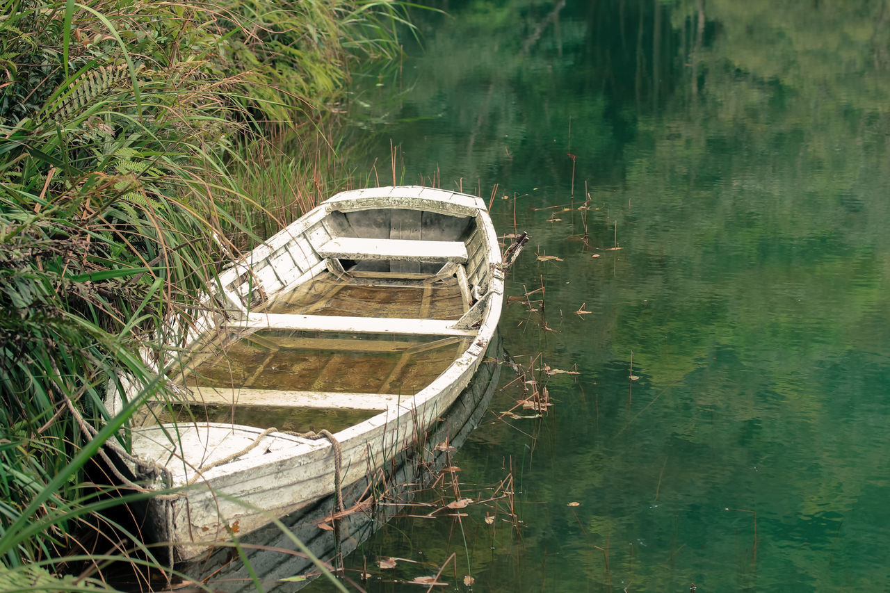 Boat Flooded High Angle View Lake Nature No People Outdoors Reed Reeds Reflection Reflection Lake Rowboat Soaked In Water Transportation Water Waterfront White Boat White Color