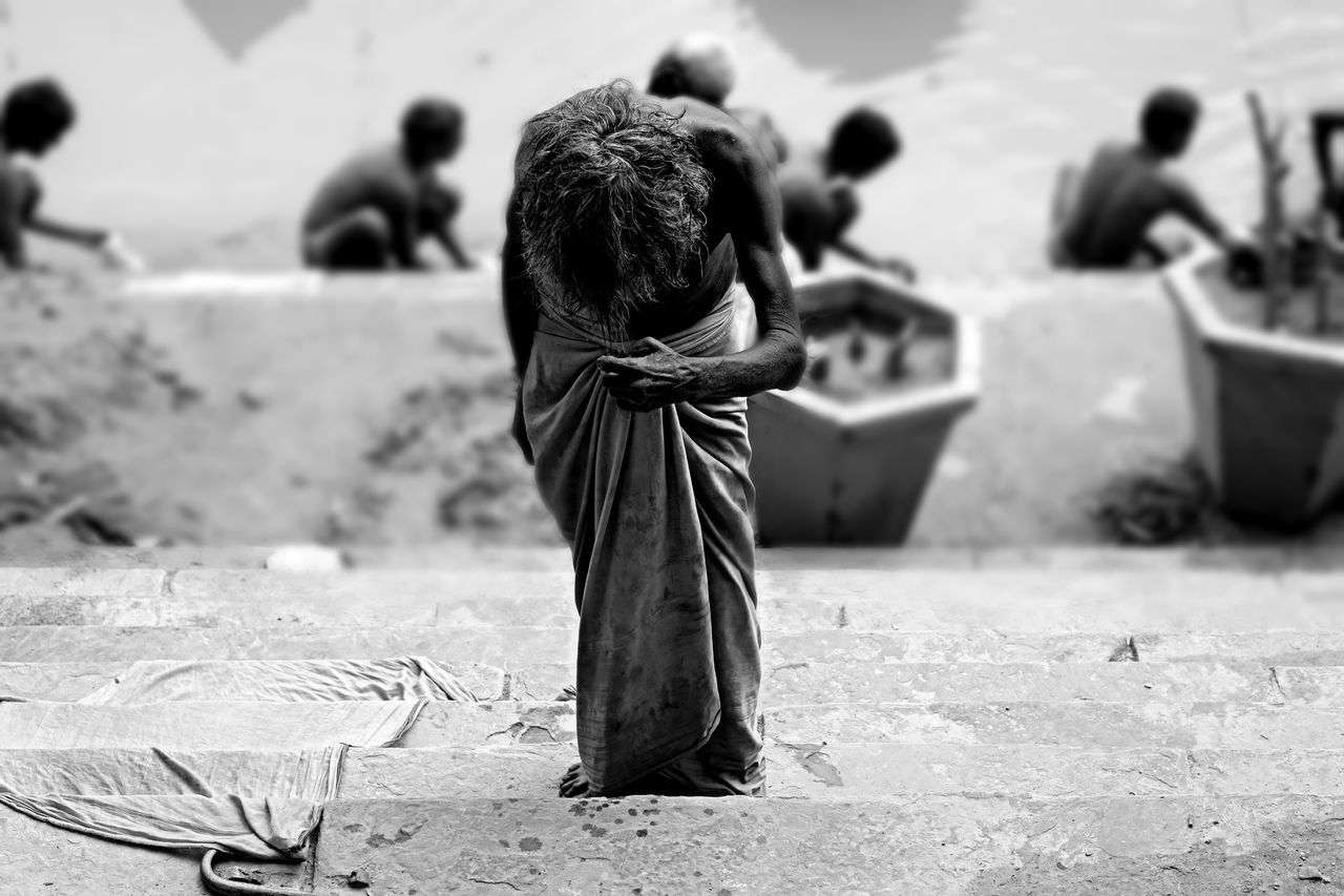 Monochrome Photography Bird Day Focus On Foreground Fujifilm_xseries Hindu Hinduism Holi India One Animal Outdoors Perching Photography Spirituality Travel Varanasi Varanasi, India Ganges, Indian Lifestyle And Culture, Bathing In The Ganges, Wildlife Zoology The Week On EyeEm