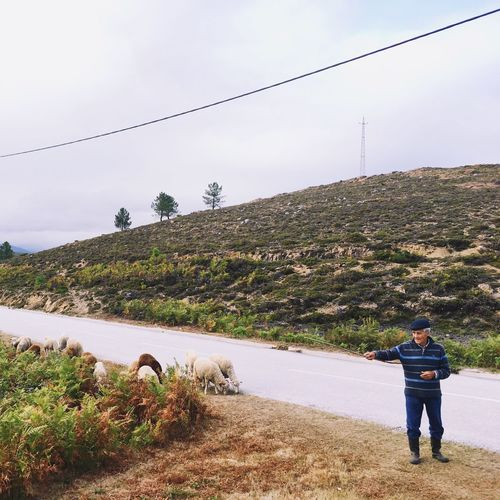 A shepard in his 93! Serra d'Arga, North of Portugal / Real People Shepard Sheeps One Person Casual Clothing Nature Standing Lifestyles Rear View Outdoors Serra D'Arga Northofportugal Portugal Village Village Life Rural Rural Scene The Week On EyeEm