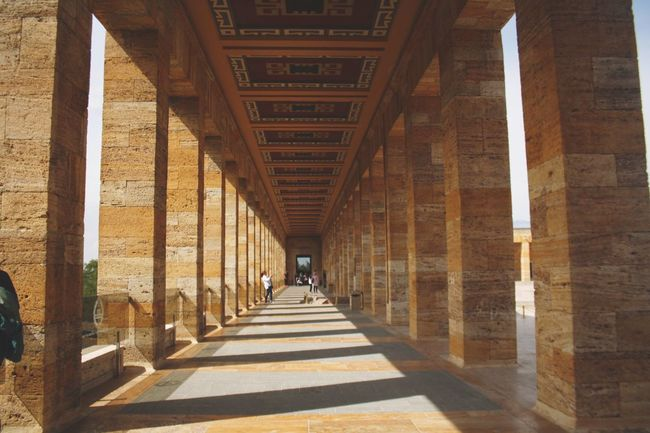 Architecture Built Structure The Way Forward Shadow In A Row Architectural Column Colonnade Diminishing Perspective Anıtkabir Corridor Long Incidental People Pillar Day Narrow Ceiling Flooring Vanishing Point Architectural Feature Arched Passage