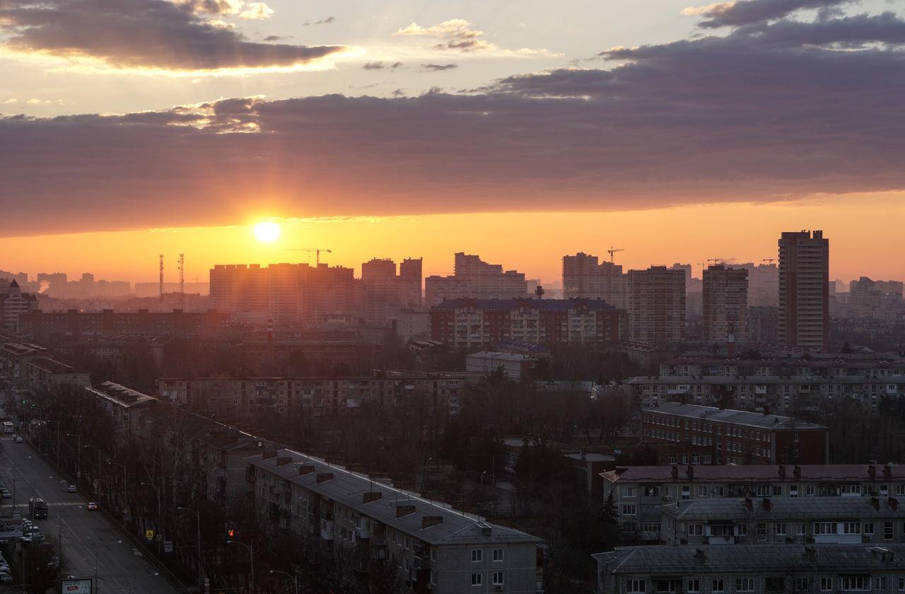 Sunrise in the Krasnodar city