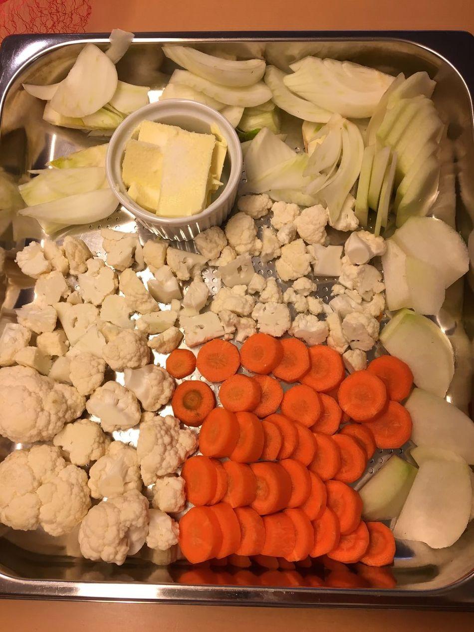 Vegetables Carrots Orange White Green Food Califlower