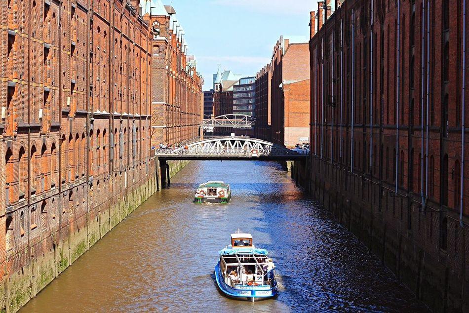 Hamburg Canal Architecture Transportation Water Built Structure City Outdoors Day Boat Hamburg EyeEmNewHere Bricks Mold