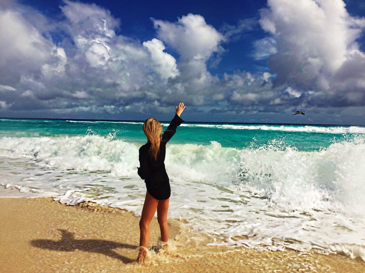 Mexico Atlantic Ocean Yucatan Mexico Cancun Caribbean Ocean Bird Women Sea Beach Sand Full Length Water Horizon Over Water Sky Vacations Wave Excitement Outdoors One Person Day Nature Beauty In Nature People Destination