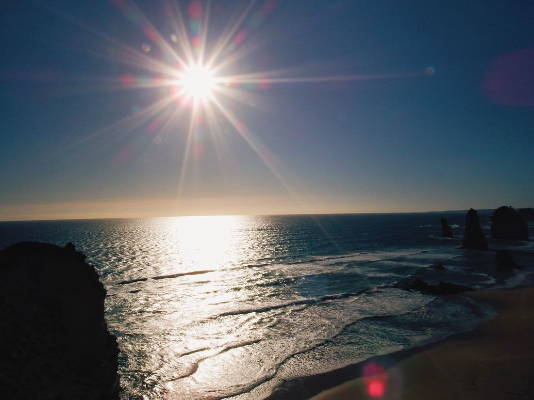 Glare. Sun Sea Sunlight Sunbeam Water Lens Flare Horizon Over Water Nature Scenics Sky Beauty In Nature Tranquility Reflection Tranquil Scene Outdoors Shiny Clear Sky No People Sunset Day Australia Travel