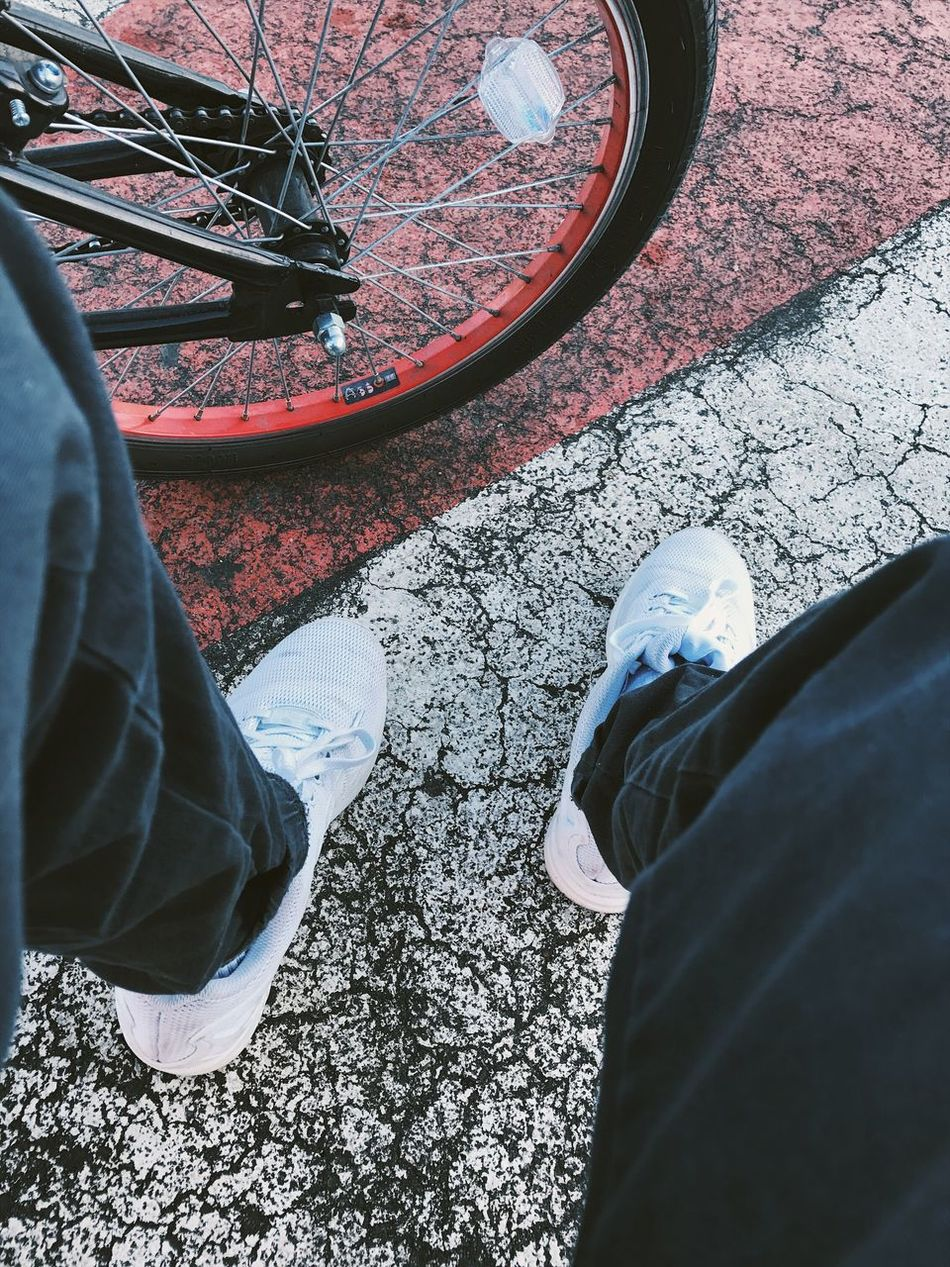 Gold Colored Low Section Human Leg Real People Shoe Standing Personal Perspective High Angle View Men Two People Day Human Body Part Leisure Activity Bicycle Outdoors Transportation Directly Above Close-up Adult People