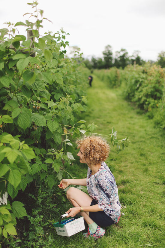 Casual Clothing Curly Hair Day Farm Full Length Girl Grass Green Green Color Growth Hat Leisure Activity Lifestyles Nature Outdoors Park Pick Your Own Fruit Picking Picking Berries Plant Raspberries Raspberry Relaxation Sitting Tree Breathing Space Done That.