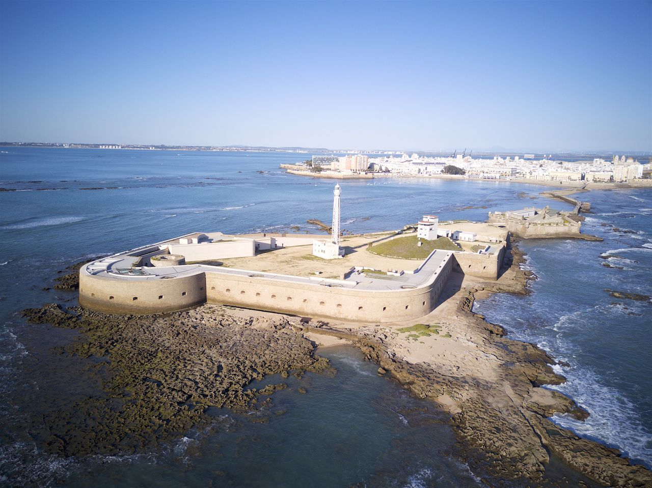 Beach Cadiz Castello Castillo De San Sebastián City Day Horizon Over Water Lighttower Outdoors Sea Sky Stones Water