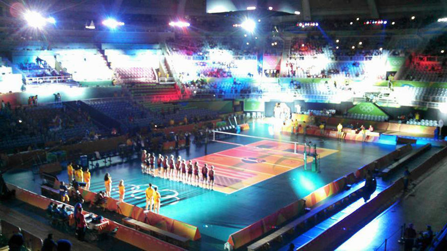 Audience Crowd Indoors  Olympic People Sound Mixer Sport Arena Volleyball Women's Volleyball Team USA Rio De Janeiro Olympics Indoors  2016 Olympics Rio Olympic