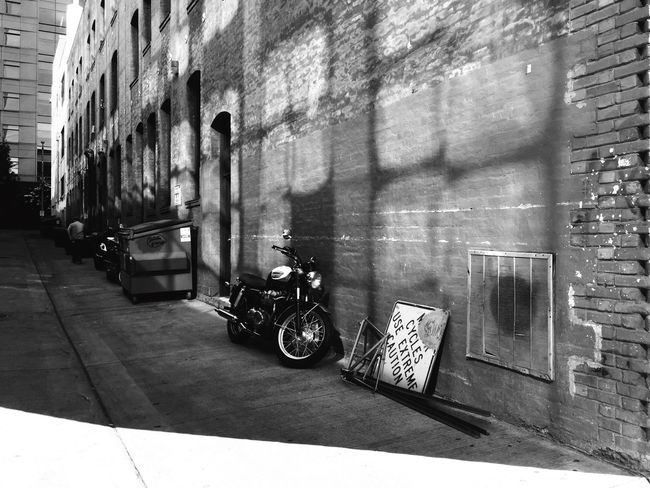 Alley Seattle Motorcycle Black & White