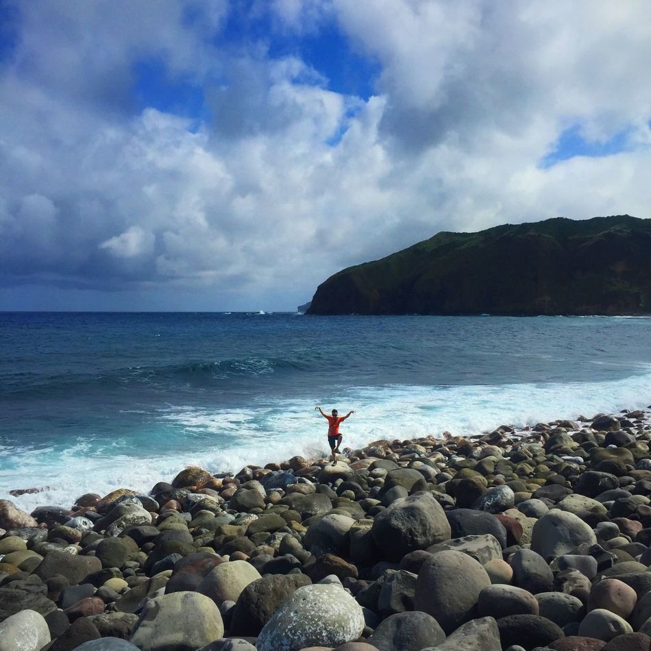 Karate kid in the middle. 🙊 Batanes Boulder Beach Travel Travel Photography IPhone IPhoneography Beach Life Eyeem Philippines Landscapes Of The Philippines Landscapes With WhiteWall Alternative Fitness